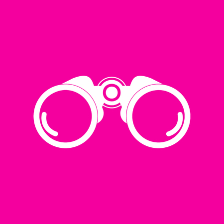 military watch: Binocular sign illustration. White icon at magenta background.
