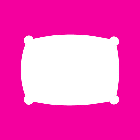 softy: Pillow sign illustration. White icon at magenta background.