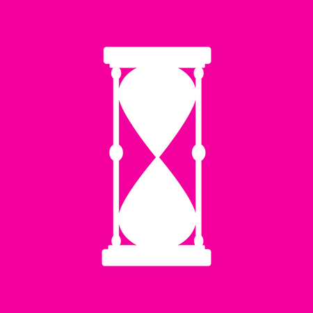 metering: Hourglass sign illustration. White icon at magenta background. Illustration