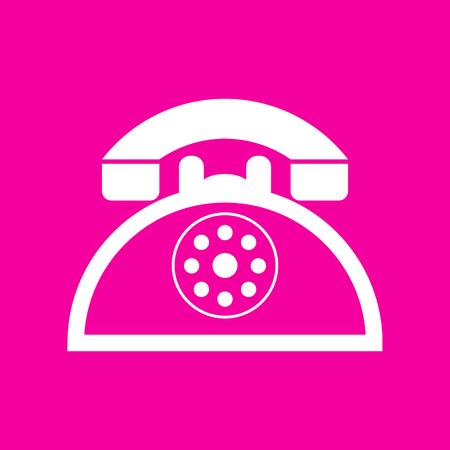 Retro telephone sign. White icon at magenta background. Illustration