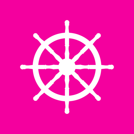 command: Ship wheel sign. White icon at magenta background. Illustration