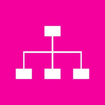 Site map sign. White icon at magenta background.