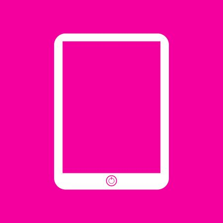 sensitive: Computer tablet sign. White icon at magenta background.