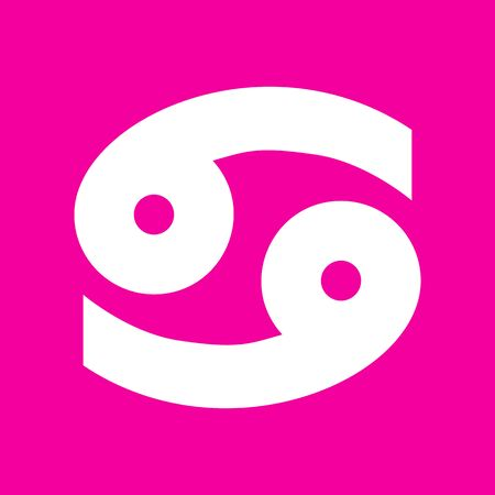 Cancer sign illustration. White icon at magenta background.