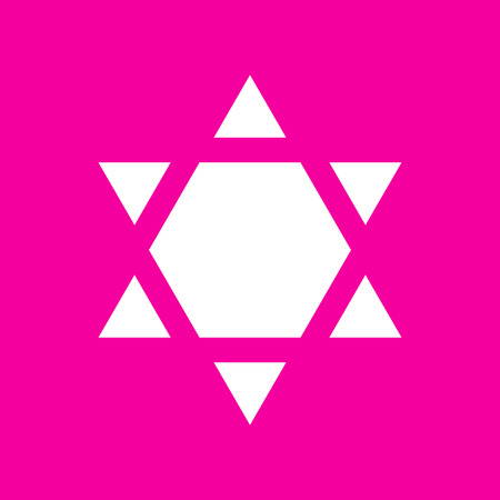 Shield Magen David Star Inverse. Symbol of Israel inverted. White icon at magenta background.