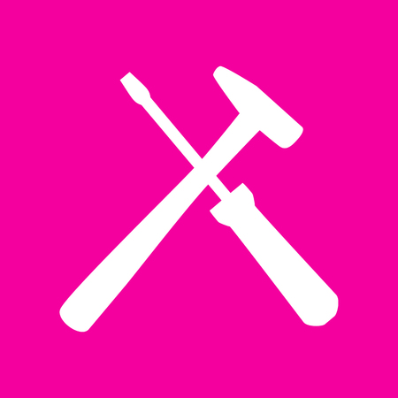 Tools sign illustration. White icon at magenta background.