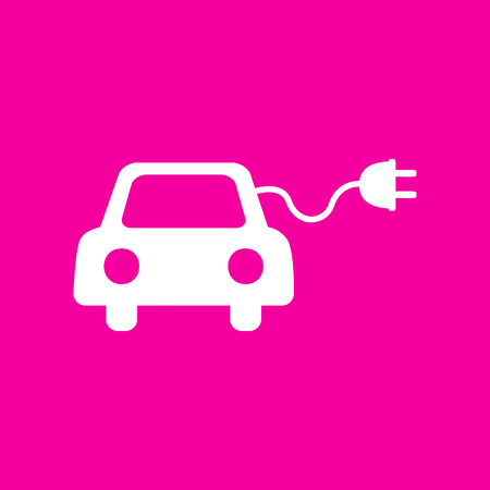 echnology: Eco electric car sign. White icon at magenta background.