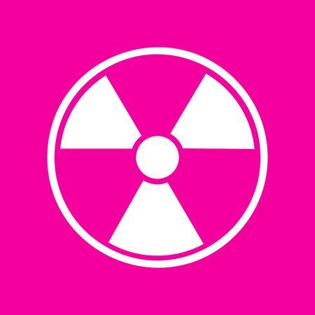 radiological: Radiation Round sign. White icon at magenta background.