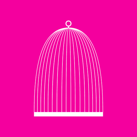 Bird cage sign. White icon at magenta background.