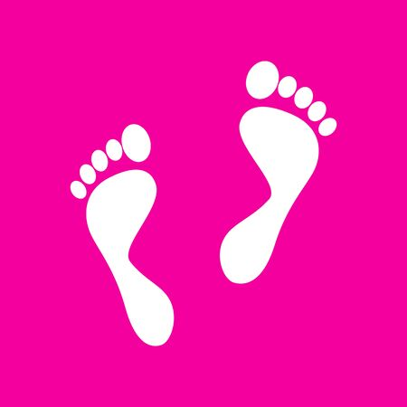 Foot prints sign. White icon at magenta background.