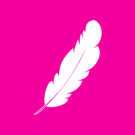 inkstand: Feather sign illustration. White icon at magenta background.