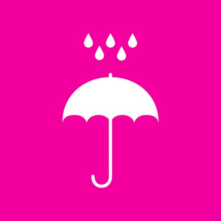 Umbrella with water drops. Rain protection symbol. Flat design style. White icon at magenta background. Illustration