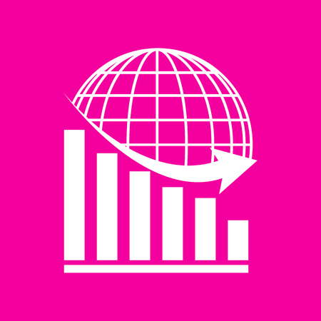 declining: Declining graph with earth. White icon at magenta background.