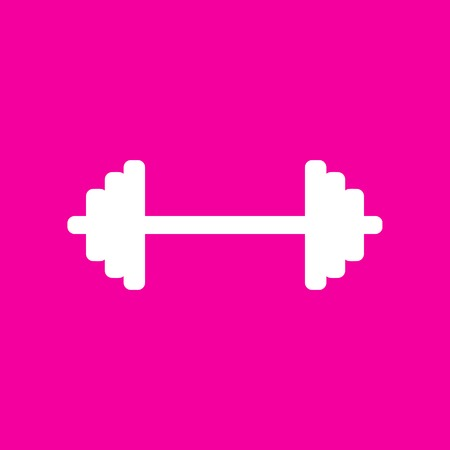 lifter: Dumbbell weights sign. White icon at magenta background. Illustration