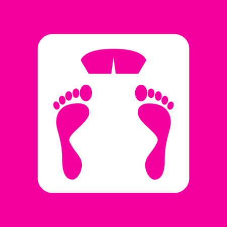 Bathroom scale sign. White icon at magenta background.