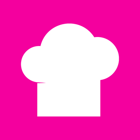 fine cuisine: Chef cap sign. White icon at magenta background.