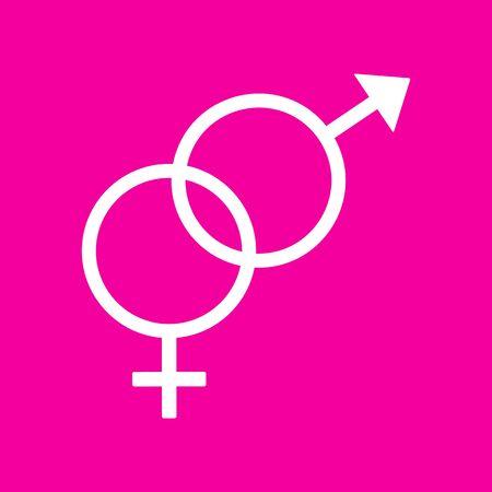 sex symbol: Sex symbol sign. White icon at magenta background.