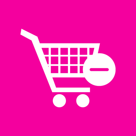 Vector Shopping Cart with Remove sign. White icon at magenta background.