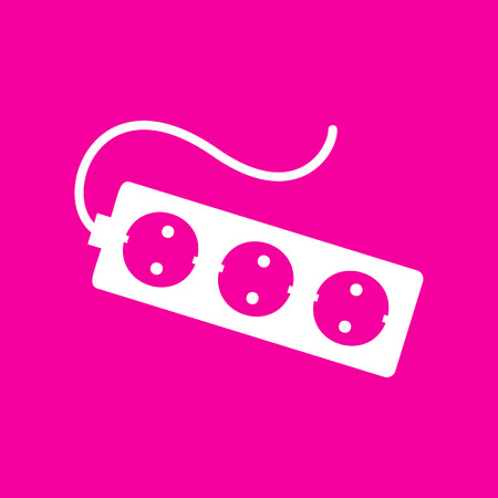 amp: Electric extension plug sign. White icon at magenta background.