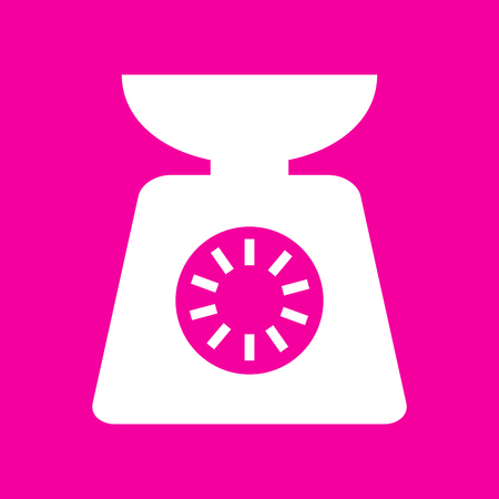 ounce: Kitchen scales sign. White icon at magenta background.