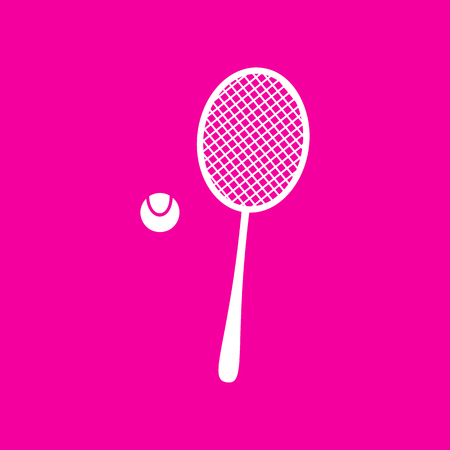 handled: Tennis racquet sign. White icon at magenta background.
