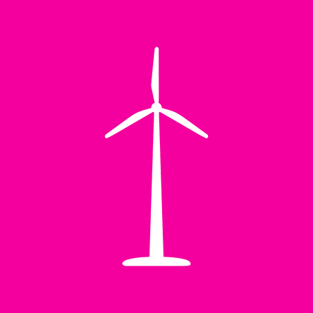 electricity meter: Wind turbine logo or sign. White icon at magenta background.
