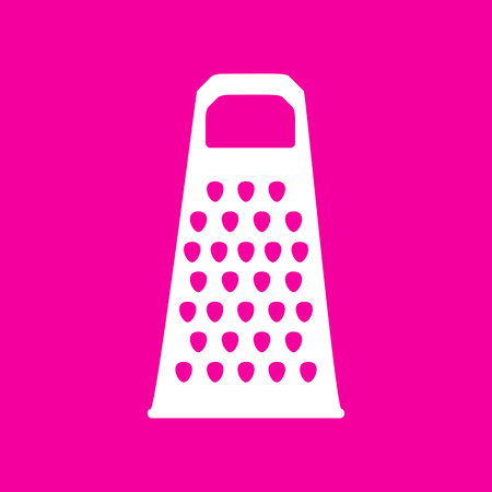 Cheese grater sign. White icon at magenta background.