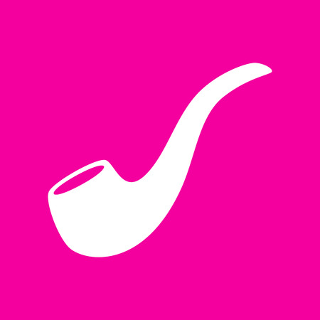 enjoyment: Smoke pipe sign. White icon at magenta background. Illustration