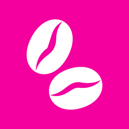 Coffee beans sign. White icon at magenta background.