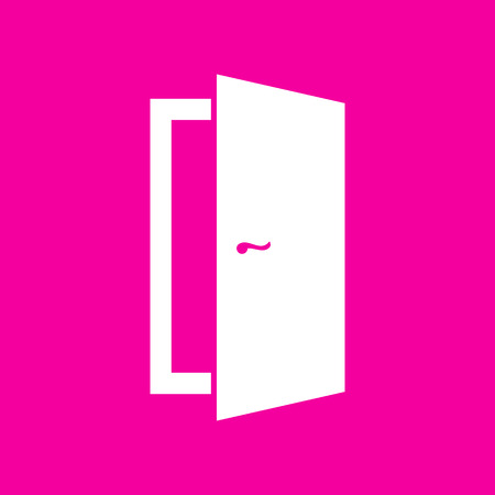 Door sign illustration. White icon at magenta background. Illustration