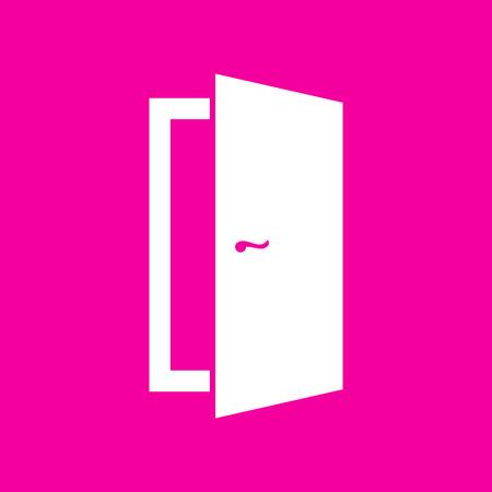 Door sign illustration. White icon at magenta background. Illustration