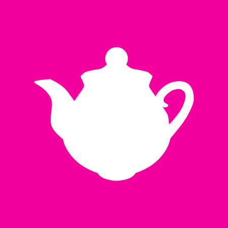 thermal: Tea maker sign. White icon at magenta background.