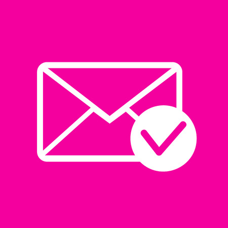 allow: Mail sign illustration with allow mark. White icon at magenta background. Illustration