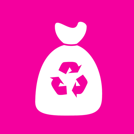 food waste: Trash bag icon. White icon at magenta background.
