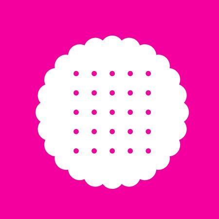 scone: Pyramid sign illustration. White icon at magenta background. Illustration