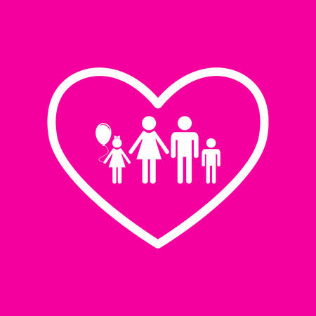 siloette: Family sign illustration in heart shape. White icon at magenta background.