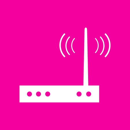 Wifi modem sign. White icon at magenta background. Иллюстрация
