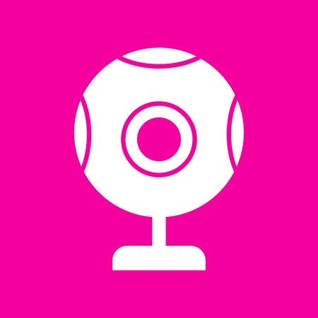 acquaintance: Chat web camera sign. White icon at magenta background.