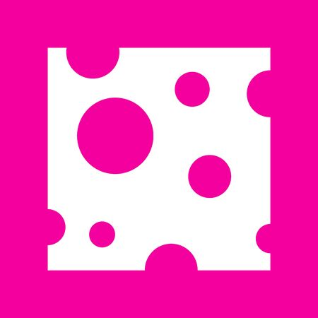 Cheese slice sign. White icon at magenta background. Illustration