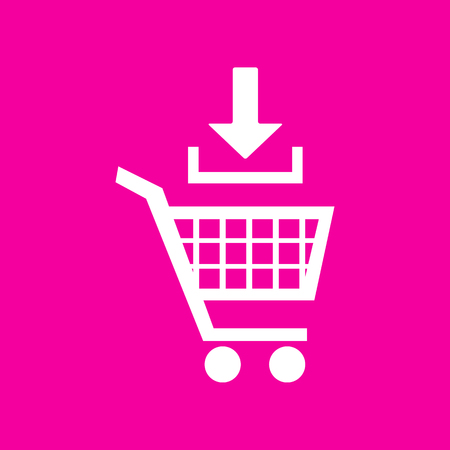 Add to Shopping cart sign. White icon at magenta background. 矢量图像