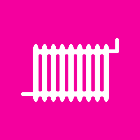 Radiator sign. White icon at magenta background.