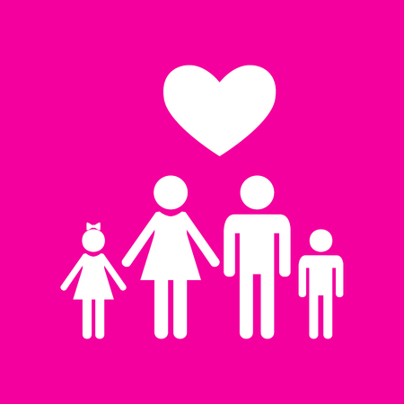 Family symbol with heart. Husband and wife are kept children's hands. Love. White icon at magenta background.
