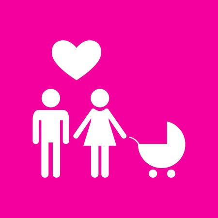 Family symbol with pram and heart. Husband and wife are kept each other`s hands. Love. White icon at magenta background.
