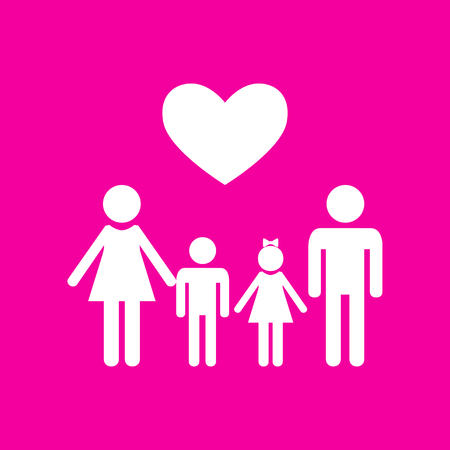 Family symbol with heart. Husband and wife are kept childrens hands. White icon at magenta background.