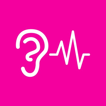 audible: Ear hearing sound sign. White icon at magenta background. Illustration