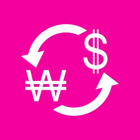 Currency exchange sign. South Korea Won and US Dollar. White icon at magenta background. Illustration