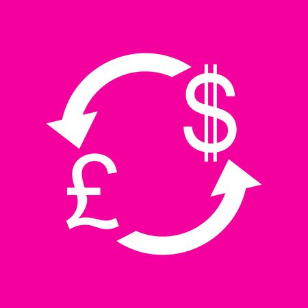 Currency exchange sign. UK: Pound and US Dollar. White icon at magenta background.