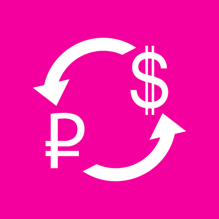 abstract recycle arrows: Currency exchange sign. Rouble and US Dollar White icon at magenta background.