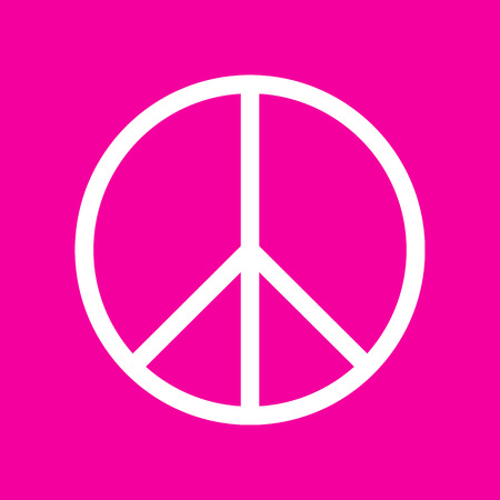 brushwork: Peace sign illustration. White icon at magenta background.