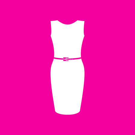 magenta dress: Dress sign illustration. White icon at magenta background.
